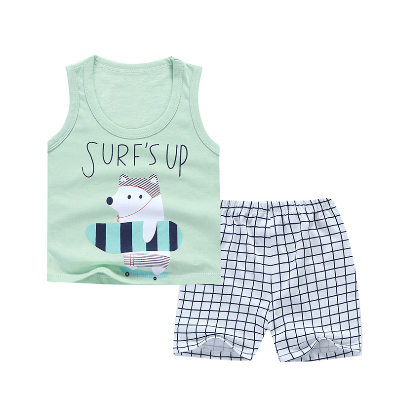 Boy Sleeveless Vest Summer Newborn print vest set cotton breathable baby clothing boys clothes cute cartoon baby boy clothing купить недорого в Москве