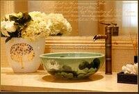 Фарфор Круглый гардероб, умывальник Lavabo столешницей, раковина судно Ванная комната стиральная чаша jy9806