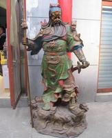 Large China Bronze Painted Nin Dragon 5 Army Flag Huge Guan Gong Guan Yu warrior