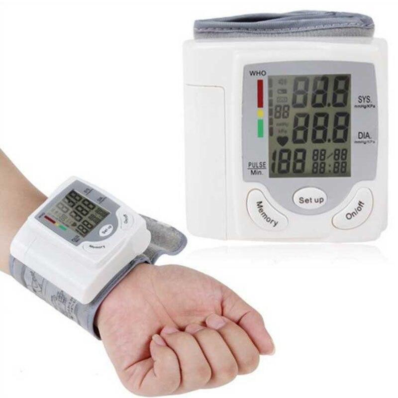 Автоматический цифровой наручный манжет Монитор артериального давления измеритель пульса Сфигмоманометр пульса Пульс ЖК-дисплей