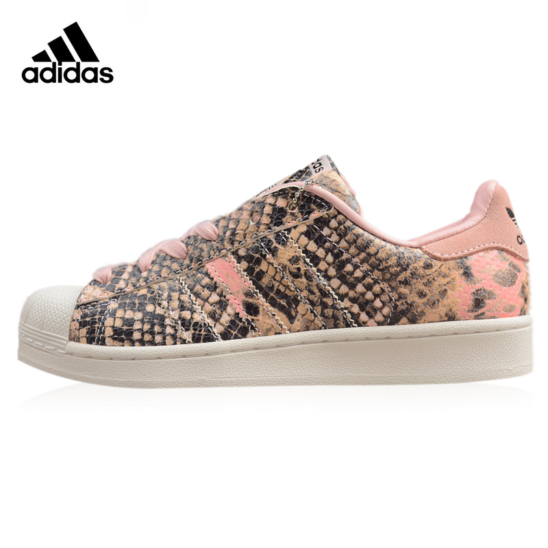 Adidas Superstar Women's Walking Shoes Pink & Brown Wear-resistant Lightweight Breathable Sneakers Non-slip S76419 adidas clover gazelle men s and women s walking shoes pink breathable wear resistant lightweight non slip bb5264