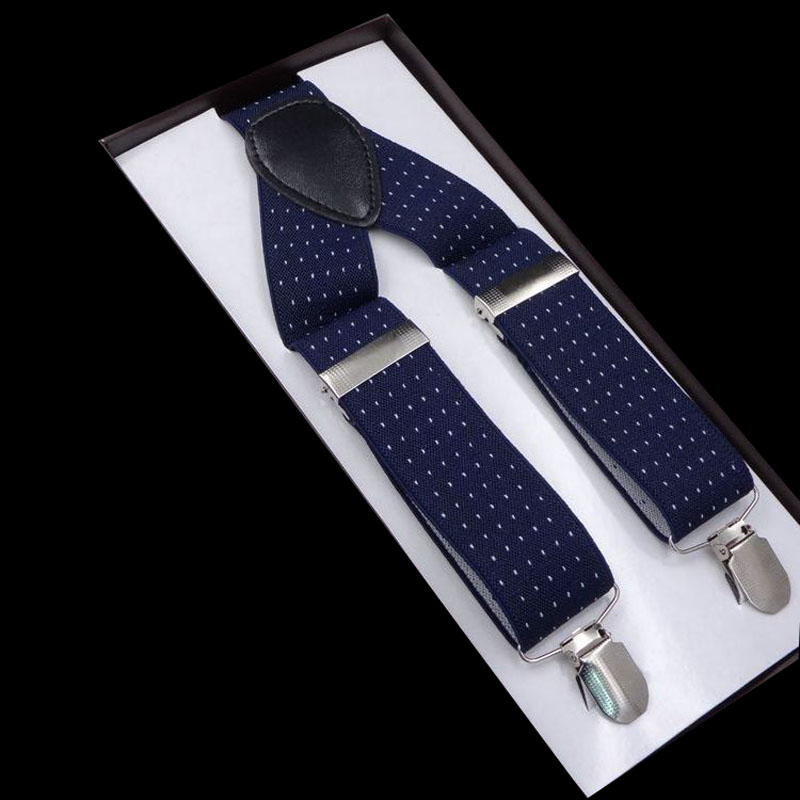 Euramerican Popular 3.5*120cm 3 Clip Printed Blue White Point Suspenders FY18081704