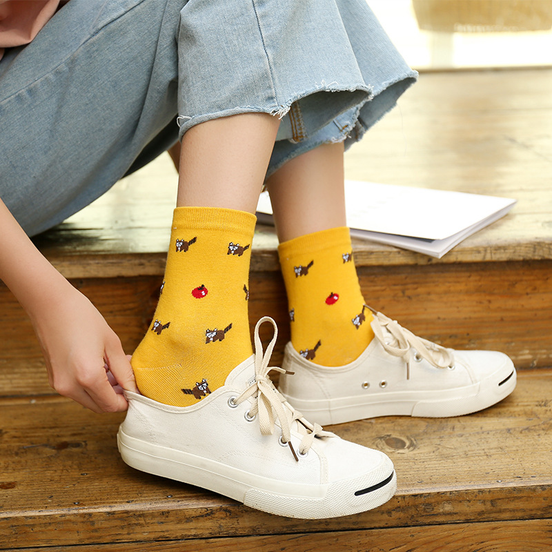 Fashion woman funny cute panda flamingo owl animal cartoon   socks   Korean style happy woman ankle   socks   comfortable cotton   socks