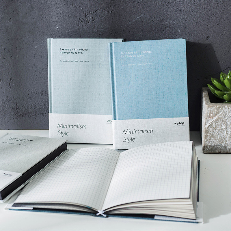 Minimalism Hard Cover Any Year Study Diary Journal Business Notebook Notepad Memo Grid Blank Lined Papers