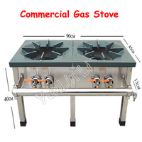 Commercial Gas Stove Stainless Steel Dual Cooker Strong Load Capacity Cooking Machine Energy Saving Multi functional Oven