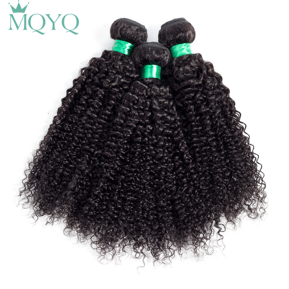 MQYQ Raw Indian Hair Kinky Curly Extensions Human Hair Weaving Bundles Natural Color 3 Piece 100G/pc Non-Remy Hair