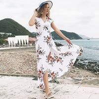 Hot Sale Long Summer Beach Dress Women Sexy Deep V Floral Chiffon Maxi Dress Front Split