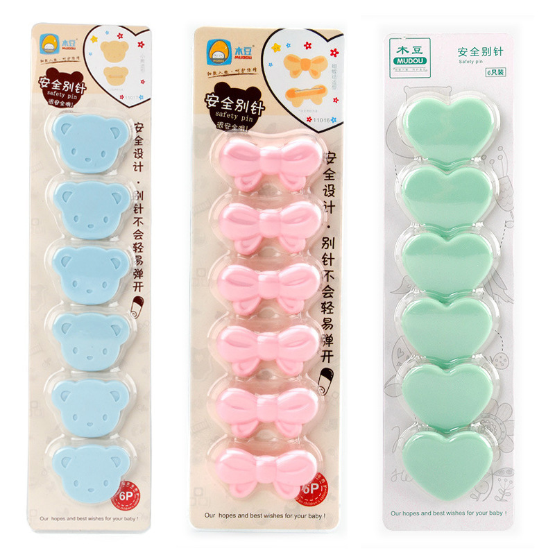 6 Pcs/set Baby Care Diaper Pins Brooch Holder Baby Safety Pins DIY Cartoon Safety Cute Bow Shape Pins Findings Safe Secure Clips