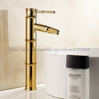 Polished Gold bathroom sink basin faucet Bamboo style single hole basin faucet hot and cold water tap Nnf086