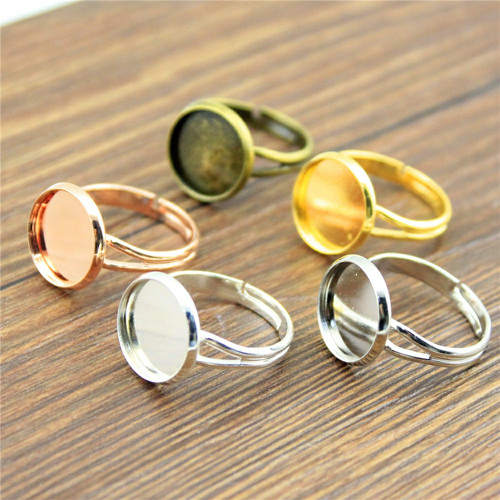 10pcs 5 Colors Fit 10/12/14/16/18/20mm High Quality Copper Material Adjustable Y-Type Ring Settings Base, DIY Ring Findings