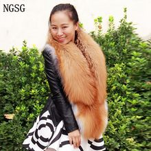 NGSG 2018 Real Fur Scarf Women Red Silver Fox Genuine Fur Long Warm Solid Female Winter Large Natural Fur Fashion Scarves WJ1229