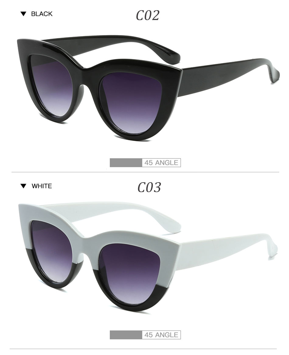 Black Classic Cat Eye Women Sunglasses Designer Brand Trend Style Glasses Adult Eyeglasses 7
