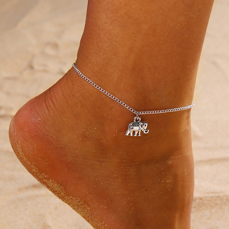 Vintage Multiple Layers Anklets For Women Retro Elephant Sun Pendant Foot Jewelry Barefoot Sandals Ankle Bracelet on the Leg A2