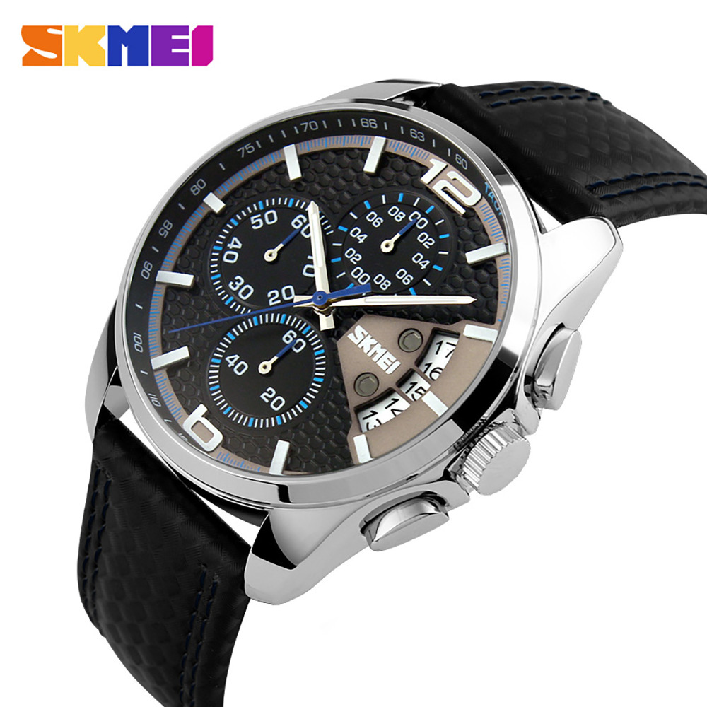 SKMEI Men Chronograph Watch Men Sport Watch Leather Quartz-Watch Waterproof Clock Date Men's Wrist Watch relogio masculino skmei 9058 men quartz watch page 5