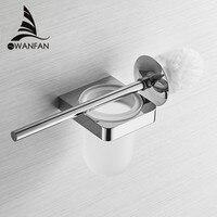 Suporte de escova de vaso sanitário cromo com copo vidro fosco wc borste parede limpa acessórios do banheiro conjunto escova de banho ferragem 5788