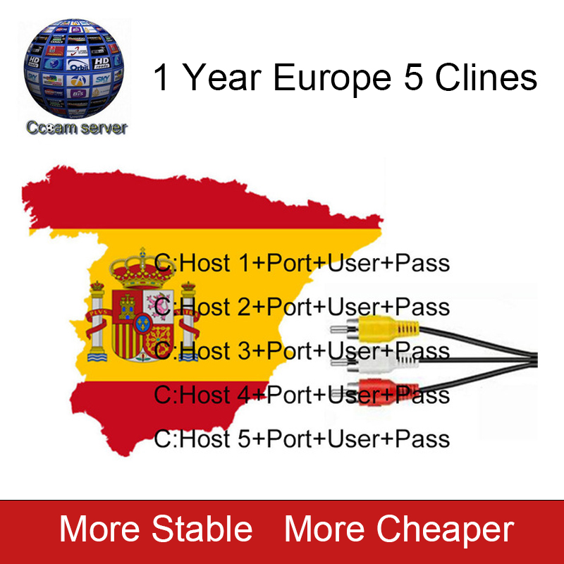 2018 NEW 5 Lines Cccam Cline For 1 Year Europe Spain Portugal For Freesat V8 Super,V7 HD,IKS Receptor Satellite Receiver Etc. ...