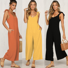 2019 Loose Jumpsuits Solid Black Wide Leg Casual Pantsuits Daily Sexy Open Back Rompers Yellow Orange Jumpsuit eDressU SJ-CF1862