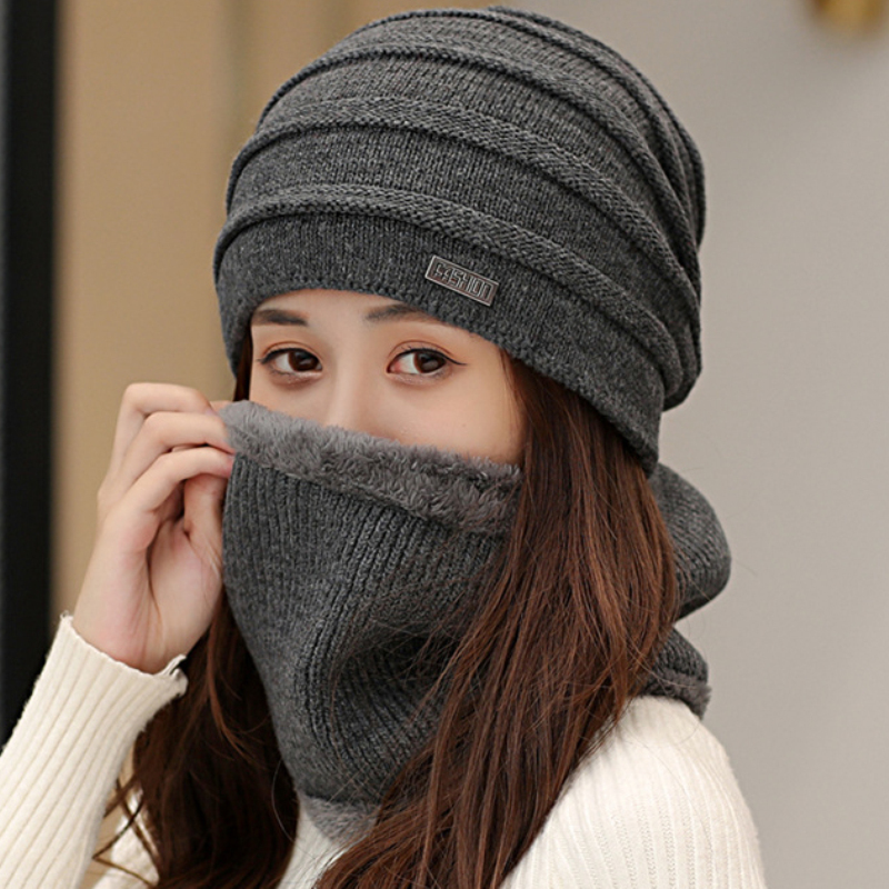 HT2133 Men Women Winter Hat Scarf Set Thick Warm Knitted Hat Scarf For Winter Baggy Slouch Beanies Windproof Winter Accessories