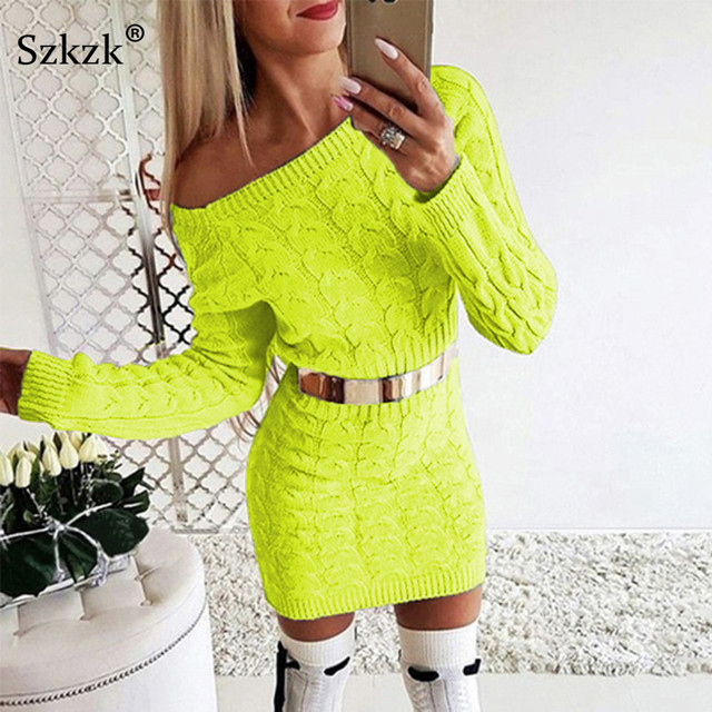 Szkzk New Arrival 2019 Winter Sexy Knitted Mini Sweater Dress Women Autumn Clothes Long Sleeve High Waist Tight Fitted Dresses