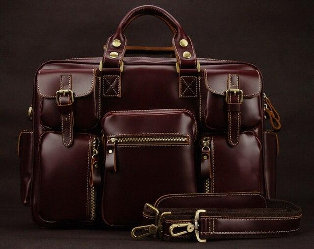 Luxury Genuine Leather Men S Travel Bags Luggage Bag Duffle Weekend Overnight