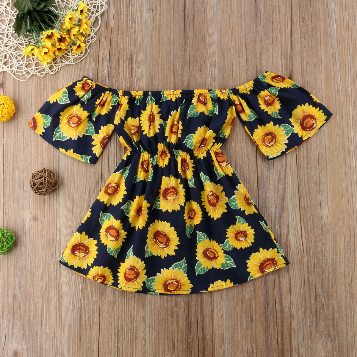 Newest Kid Baby Girl Dress Sunflower Print Off Shoulder Sundress Party Pageant Short Sleeve Tutu Dress Fashion Clothes 1-6T
