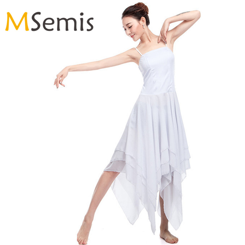 Show details for Ballet Leotards For Women Ballet Dress Lyrical Contemporary Dance Dress Adult Spaghetti Strap Sleeveless Asymmetric Dance Dress