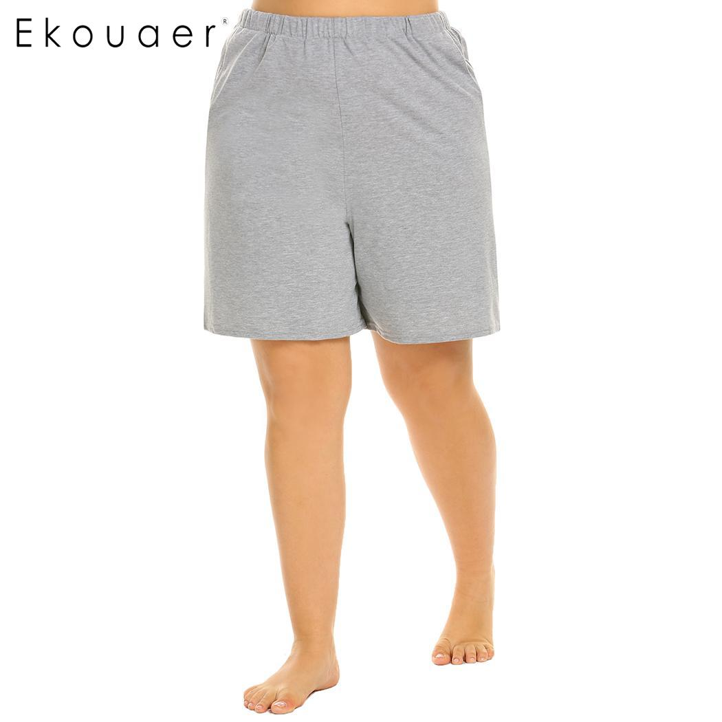 Ekouaer Plus Size Women Elastic Waist Short Pants Pajama Sleep Bottom Soft Loose Lounge Sleepwear Pants Female Nightwear XL-5XL 2