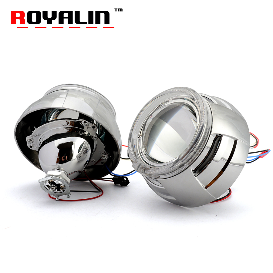 ROYALIN 3.0 inch Metal Bi-xenon Projector Lenses with 95mm White LED Angel Eyes Halo Ring DRL for Car Headlights H1 lamp H4 H7 royalin car styling hid h1 bi xenon headlight projector lens 3 0 inch full metal w 360 devil eyes red blue for h4 h7 auto light