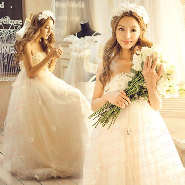 2014 Spring New Arrival Lace Royal Maternity Wedding Dress Princess