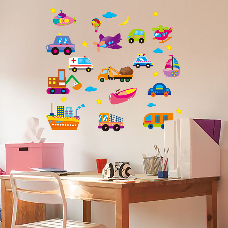 Shijuehezi small cartoon cars wall stickers vinyl material wall decals diy for fridge kids rooms kindergar decoration in wall stickers from home garden