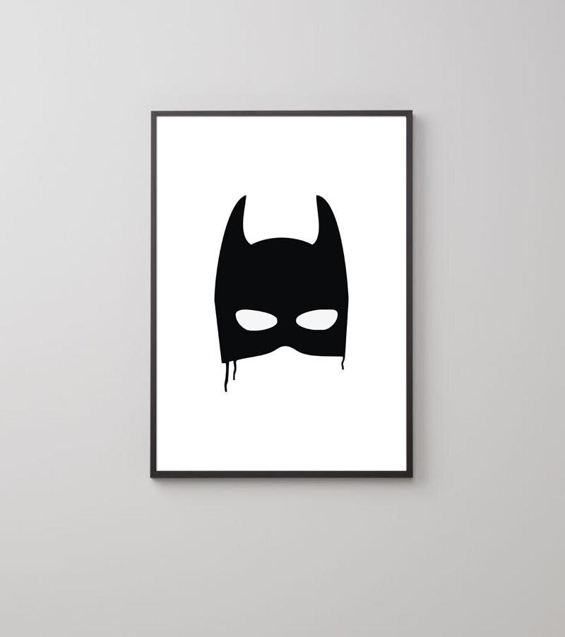 Vintage Batman maske Leinwanddruck Poster, kinderzimmer dekor kunst ...