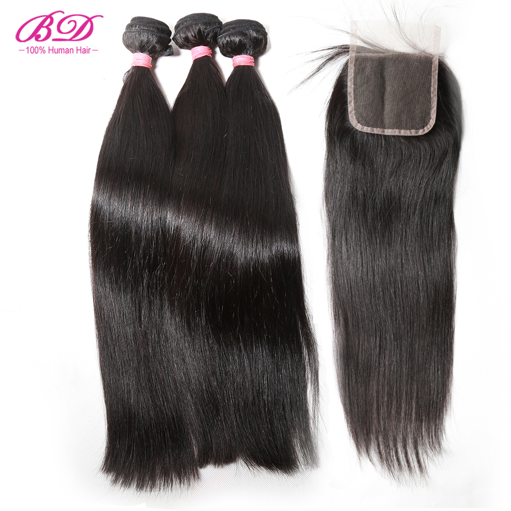 <font><b>10A</b></font> <font><b>Grade</b></font> Brazilian Virgin <font><b>Hair</b></font> Straight Bundles with Lace Closure Cuticle Aligned Human <font><b>Hair</b></font> Bundles with Closure image