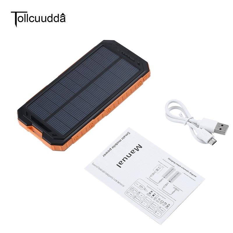 imágenes para 10000 mAh Panel Solar Cargador rápido Tollcuudda Poverbnak PowerBank con Luz LED Dual USB power bank Batería Externa Para El teléfono