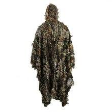 Реалистичные 3D листья камуфляж пончо плащ стелс костюмы открытый лесной CS баскетбольная форма для Охота Стрельба наблюдение за птицами комплект