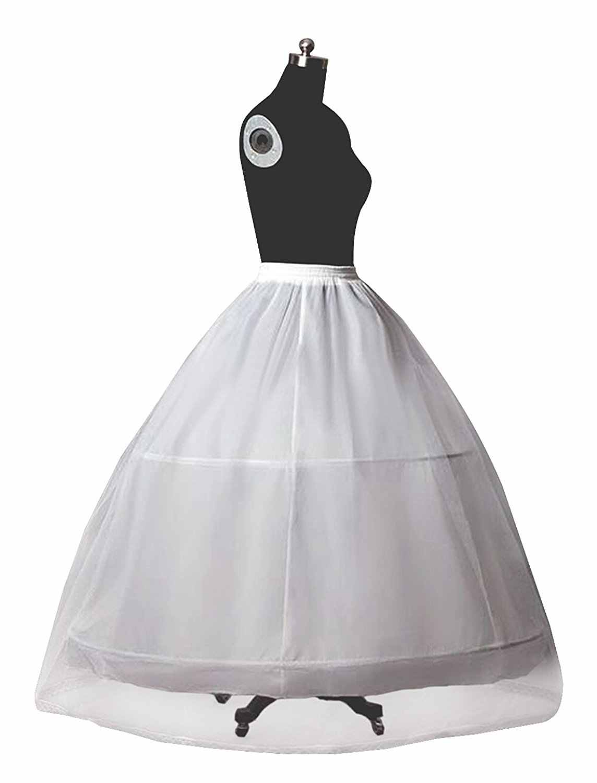 Petticoat Krinoline für Frauen Hochzeit Kleid A-linie Unterrock Voll Slip 2 Hoops bodenlangen Normal und Plus Größe