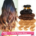 Ombre Wavy Brazilian Peruvian Human Hair With Three 3 Tone Ombre Color 3Pcs Lot Black Brown Blonde Human Hair Weave Extensions