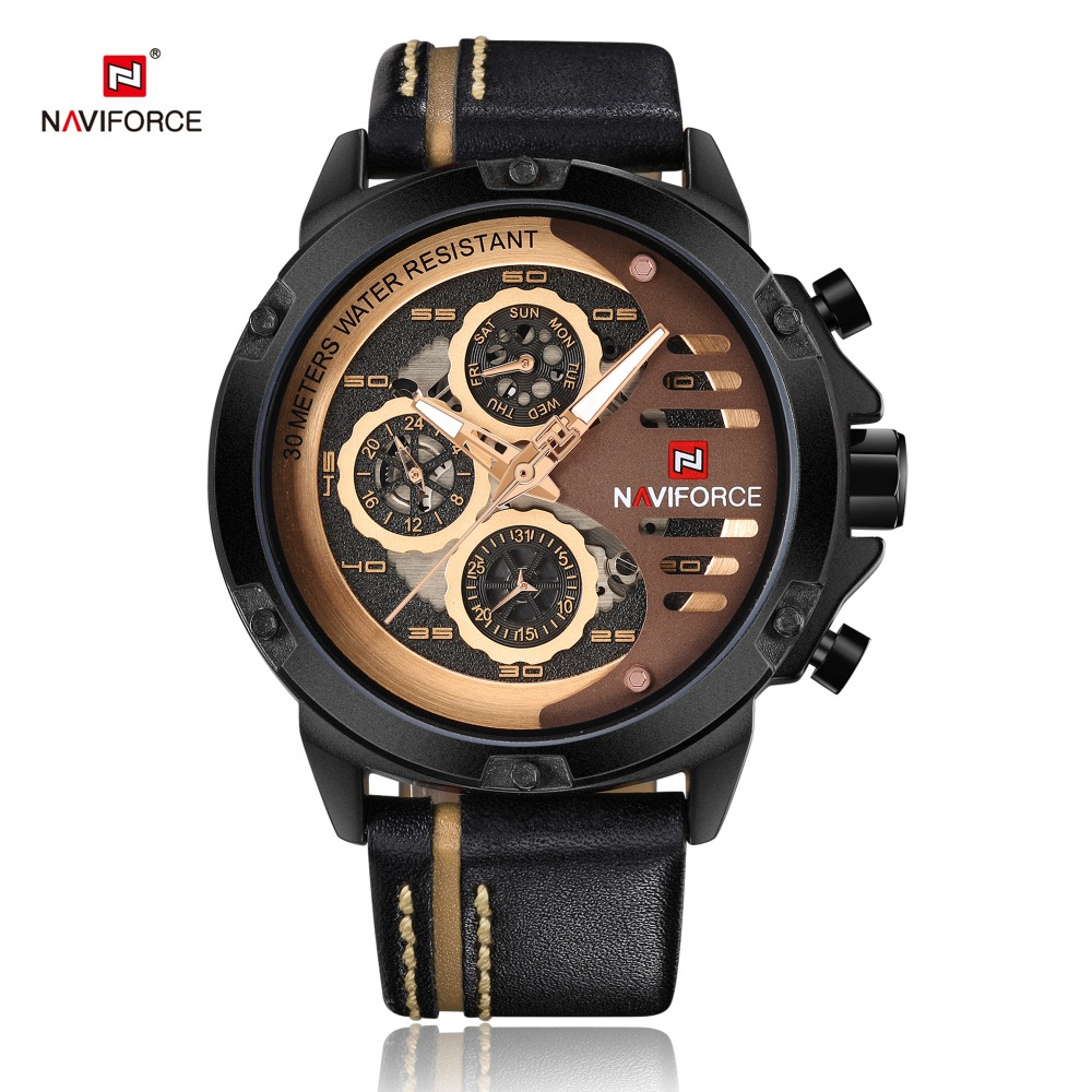 все цены на NAVIFORCE Men Wrist Watch Sport Military Man Watches Auto Date 24 Hour Quartz Male Clock Waterproof Leather Relogio Masculino