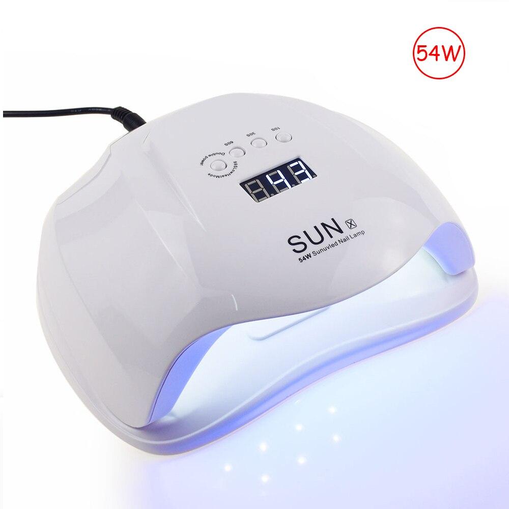 Jewhiteny SUNX 54 W UV lámpara LED Nail lámpara secador de uñas para todos los geles polaco con detección infrarroja 30/ 60/90 s temporizador Smart touch button