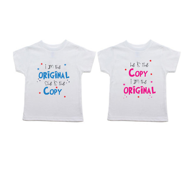 Twin T ShirtsIAm Original She Is The Copy Shirt Set Toddler Tee2T3T 4TT Girl Boy Unisex Birthday Siblings