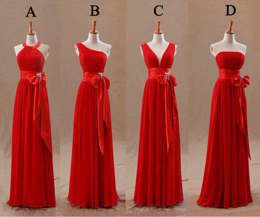 2017 New Arrival Long Red Bridesmaid Dresses Chiffon Cheap