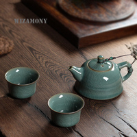 WIZAMONY 3 Piece Set Top Grade Chinese Longquan Celadon Ancient Glaze Handcrafted Chinese Porcelain Kungfu Tea Set High Quality