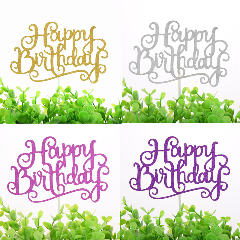 Happy Birthday Cake Topper Glittler Gold Silver Purple Fushia Cake Flags Birthday Party Cake Baking Decor Babyshower Cake Flags