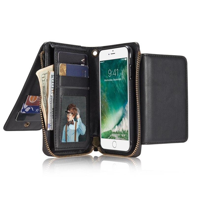Retro Wallet Zipper Flip Leather Case For iPhone 7 7 Plus <font><b>6</b></font> <font><b>6</b></font> Plus 6S 6S Plus Multifunctional 2 in <font><b>1</b></font> <font><b>Phone</b></font> Handbag Back Cover