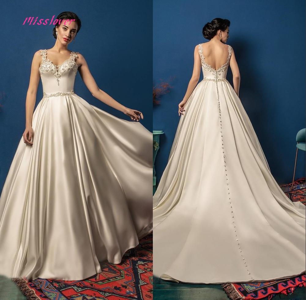 Luxury Flowers Lace Vestido De Noiva A-line Bride Wedding Dress 2019 New Bridal Gown Sexy V-neck Backless Robe De Mariee