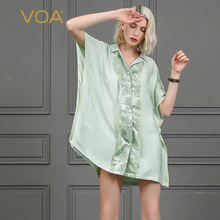 VOA Mint Green Oversized Silk Blouse Women Casual Loose Plus Size Shirt Ladies Tops Batwing Sleeve Clothes Sweet Mori Girl B858