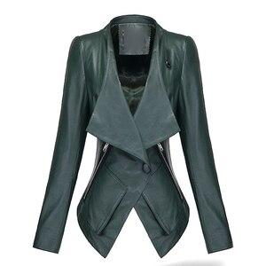 Ładne kobiety krótki Slim płaszcz zielony z długim rękawem kurtka PU kobiet Lapel jednego przycisku kurtki damskie moda Motor Biker płaszcze