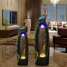 Европейский Стиль фонтан украшение дома гостиной увлажнитель Павлин Творческий бонсай фэн-шуй Lucky украшение пола