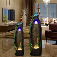 European Style Water Fountain Home Decoration Living Room Humidifier Peacock Creative Bonsai Feng Shui Lucky Floor Decoration