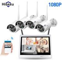 Hiseeu 4CH 1080 P беспроводные наборы NVR 12' ЖК дисплей HD Открытый безопасности 2MP IP камера товары теле и видеонаблюдения камера видеонаблюдения с WIFI ...