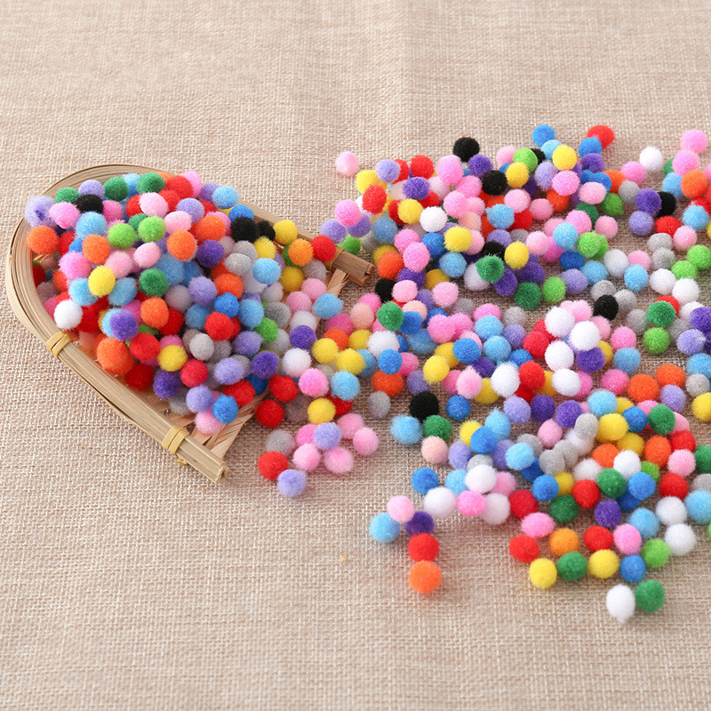 500 шт 10 мм мягкие круглые пушистые Помпоны разноцветные DIY украшения 200 шт 1,5 см